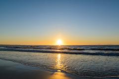 Midnight sun at the Vinje beach.