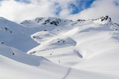"Ski mountaineering up a ""secret"" peak."
