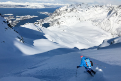 """Skiing a """"secret"""" peak that requires boat access"""